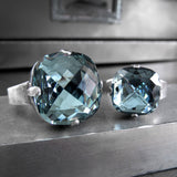 ATMOSPHERE - Slate Blue Swarovski Crystal Ring - 2 Crystal Size Options