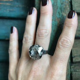 SILK SMOKE - Warm Silver Grey Swarovski Crystal Ring - 2 Crystal Size Options