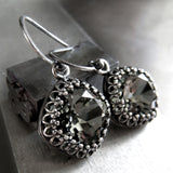 ETERNITY - Vintage Style Black Diamond Swarovski Crystal Earrings in Crown Bezels