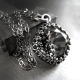 ETERNITY - Black Diamond Swarovski Crystal Necklace with Vintage Style Crown Bezel