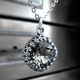 ETERNITY - Vintage Style Black Diamond Swarovski Crystal Necklace in Crown Bezel