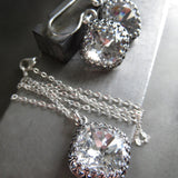 FOREVER - Vintage Style Clear Swarovski Crystal Earrings with Crown Bezels