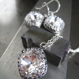 FOREVER - Vintage Style Clear Swarovski Crystal Necklace in Crown Bezel