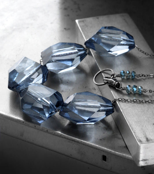 GALAXY - Slate Blue Chunky Faceted Acrylic Cube Necklace