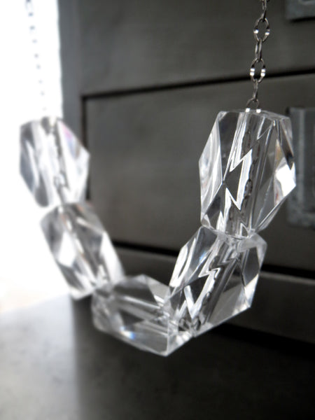 ICE CUBE - Long Clear Acrylic Chunky Cube Necklace