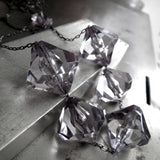 DARK DIAMONDS - Long Geometric Grey Diamond-Faceted Acrylic Necklace