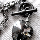 TOUGH LOVE - Small Black Swarovski Crystal Heart Pendant Necklace