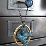 FREE SPIRIT - Flying Bird Pendant Necklace with Earthy Patina