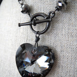 TOUGH LOVE - Large Swarovski Crystal Heart Necklace - Black Night