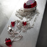 Classic Love - Red Swarovski Crystal Teardrop Pendant Necklace