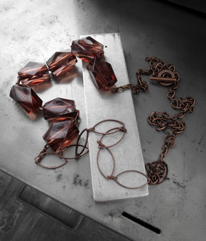 FALL INTO ME - Long Rusty-Rose Brown Acrylic Faceted Cube Necklace
