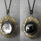 Antiqued Gold Spinning Necklace with Vintage Glass Cabochons