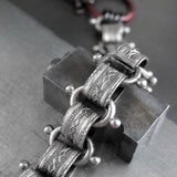 VICTORY - Long Y Necklace with Large Gunmetal Spike with Vintage Style Chain
