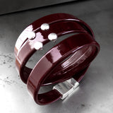 Dark Oxblood Red Patent Leather Wrap Bracelet