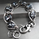 Midnight Black Bracelet - Swarovski Crystal with Chunky Chain