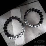Black Skull Bracelet with Lava and Hematite Color Beads - Unisex