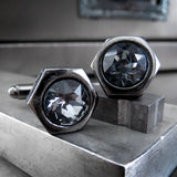 Black Hex Nut Cuff Links with Swarovski Crystal