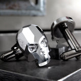 Silver Skull Cufflinks with Metallic Chrome Crystal