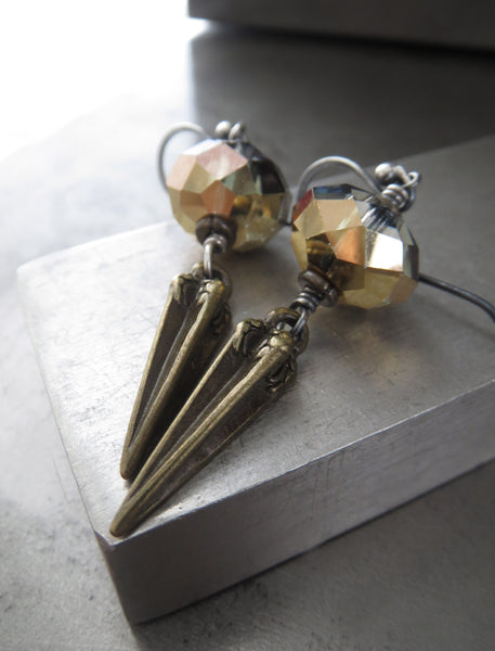 DAGGER - Crystal Earrings with Antique Brass Pointed Dagger Spikes
