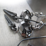 DAGGER - Crystal Earrings with Antique Silver Pointed Dagger Spikes