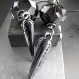 DAGGER - Goth Crystal Earrings with Antique Silver Pointed Spikes