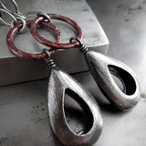 ARCHAIC - Rustic Red Circle Earrings with Brushed Gunmetal Teardrops