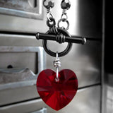 Swarovski Crystal Red Heart Pendant Necklace with Black Chain