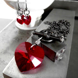 TOUGH LOVE - Swarovski Crystal Red Heart Pendant Necklace