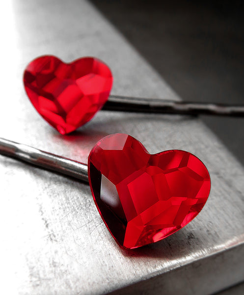 Goth Red Heart Bobby Pins with Swarovski Crystal - Set of 2