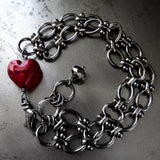 REMINDER - Gothic Deep Red Heart Bracelet with Black Gunmetal Chain