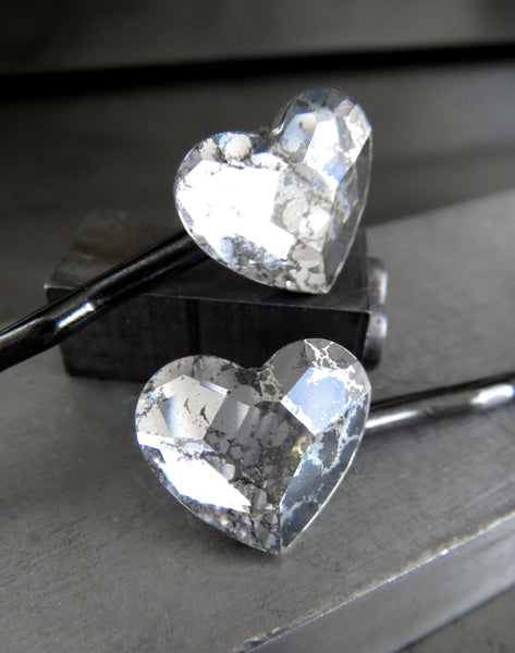 Swarovski Crystal Heart Hair Pins in Gothic Silver Patina - Set of 2