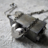 Tiny Silver Heart Necklace on Oxidized Sterling Silver Chain