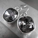 Black Night Swarovski Crystal Earrings with Silver Bezels