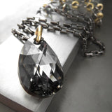 Black Night Crystal Teardrop Pendant Necklace with Gold Accents