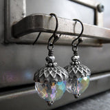 Silver Acorn Earrings with Clear Glass with AB Finish