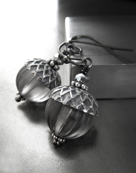 Silver Acorn Earrings with Grey Vintage Beads