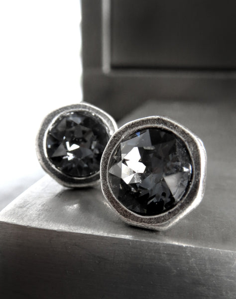 Large Black Night Swarovski Crystal Stud Earrings - Antiqued Silver