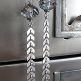 Long Chevron Crystal Earrings with Antiqued Silver Chain