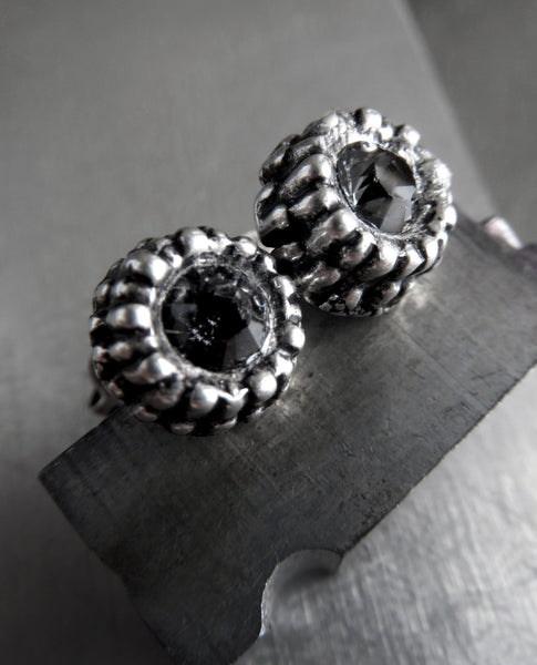 Black Night Swarovski Crystal Silver Urchin Earrings