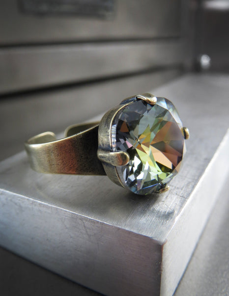 MIST + MOSS - Earthy Swarovski Crystal Ring with Antiqued Brass