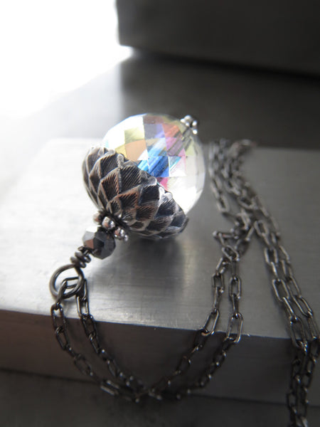 Silver Acorn Necklace with Clear AB Glass Pendant