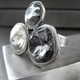 Large Swarovski Crystal Trio Cocktail Ring in Silver Grey Black
