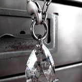 DISTRESSED - Swarovski Silver Patina Crystal Teardrop Necklace