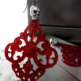 WICKED - Blood Red Chandelier Earrings with Silver Skulls