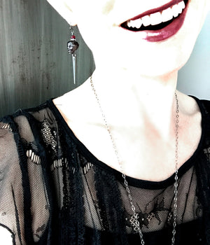 Black Skull Earrings with Gunmetal Spikes