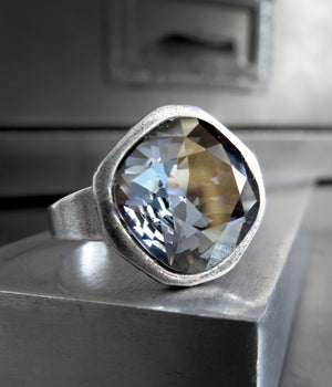 AFTER THE STORM - Swarovski Crystal Ring - Antiqued Silver