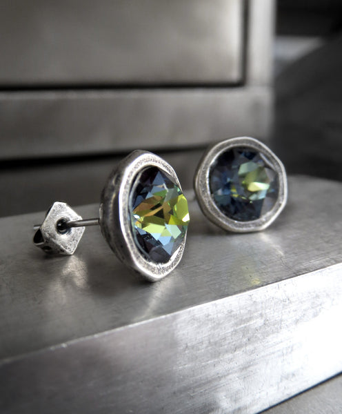 Blue Green Yellow Swarovski Crystal Stud Earrings - Antiqued Silver