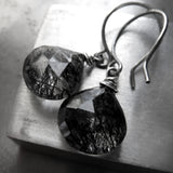Raven - Black Tourmalinated Quartz Earrings