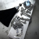 Window to the Soul - Black Silk Tassel Necklace with Blue Swarovski Crystal