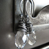 ICE - Tiny Clear Swarovski Crystal Teardrop Earrings